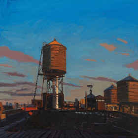 Corner Rooftop Water Towers at Sunset